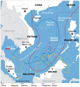 map displaying disputed territories in South China Sea