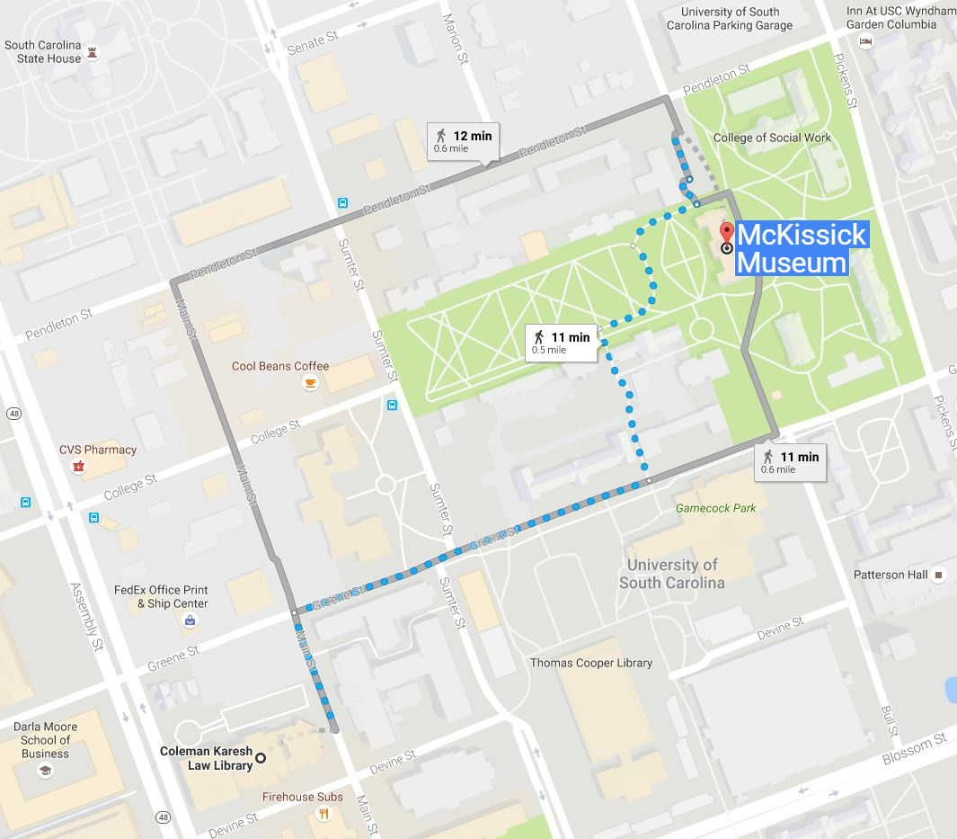Google Maps walking directions from Coleman Karesh Law Library to McKissick Museum