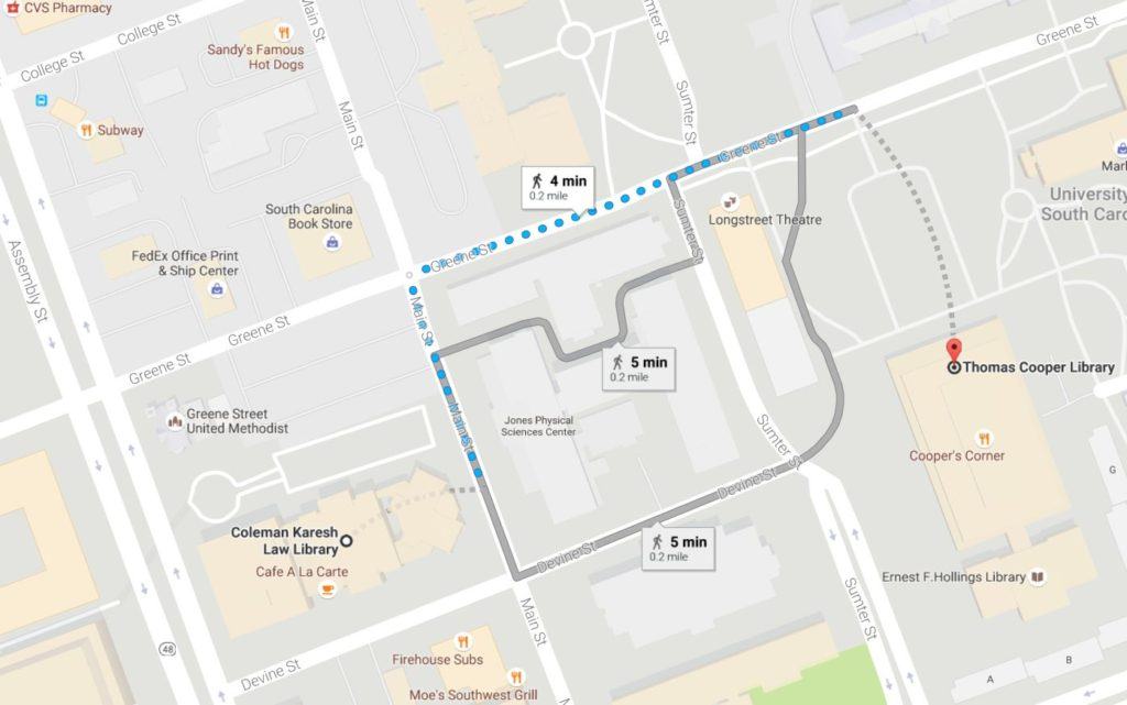 Google map showing directions from Coleman Karesh Law Library to Thomas Cooper Library