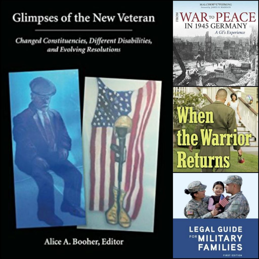 collage of four book covers relating to veterans or service members