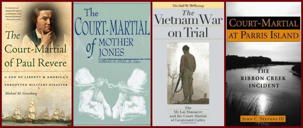 covers of books relating to courts martial