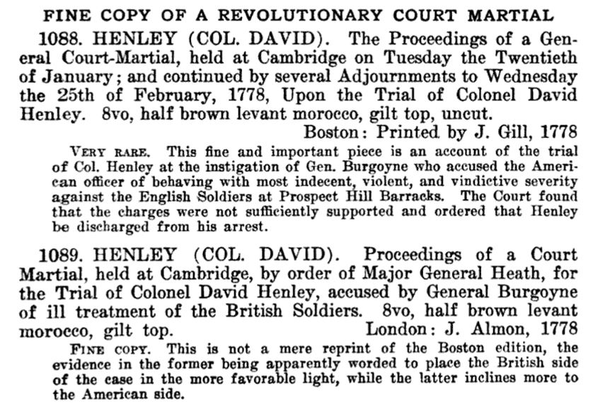 description of two books on Henley's court martial