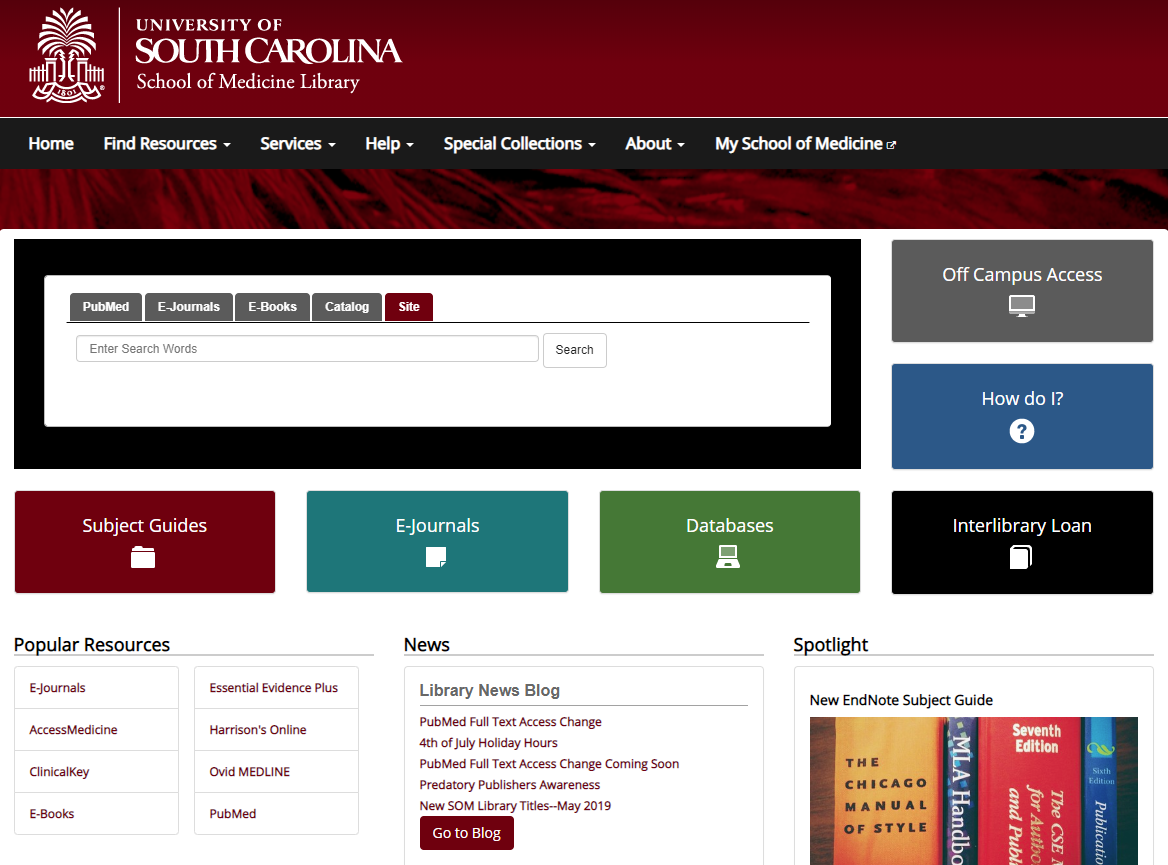 screenshot of UofSC School of Medicine Library website