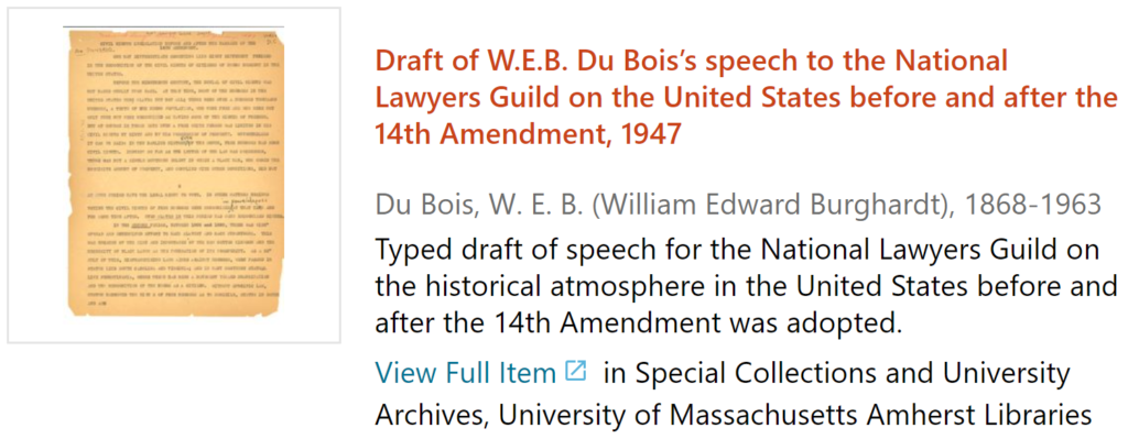 screenshot of Draft of W.E.B. Du Bois' speech re: 14th Amendment, 1947