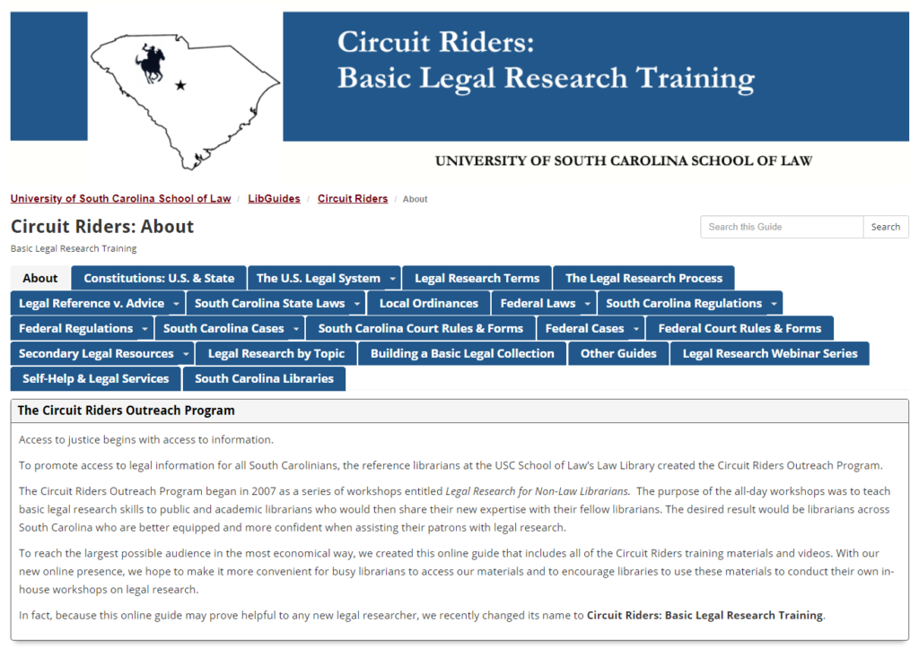 screenshot of https://guides.law.sc.edu/CircuitRiders/
