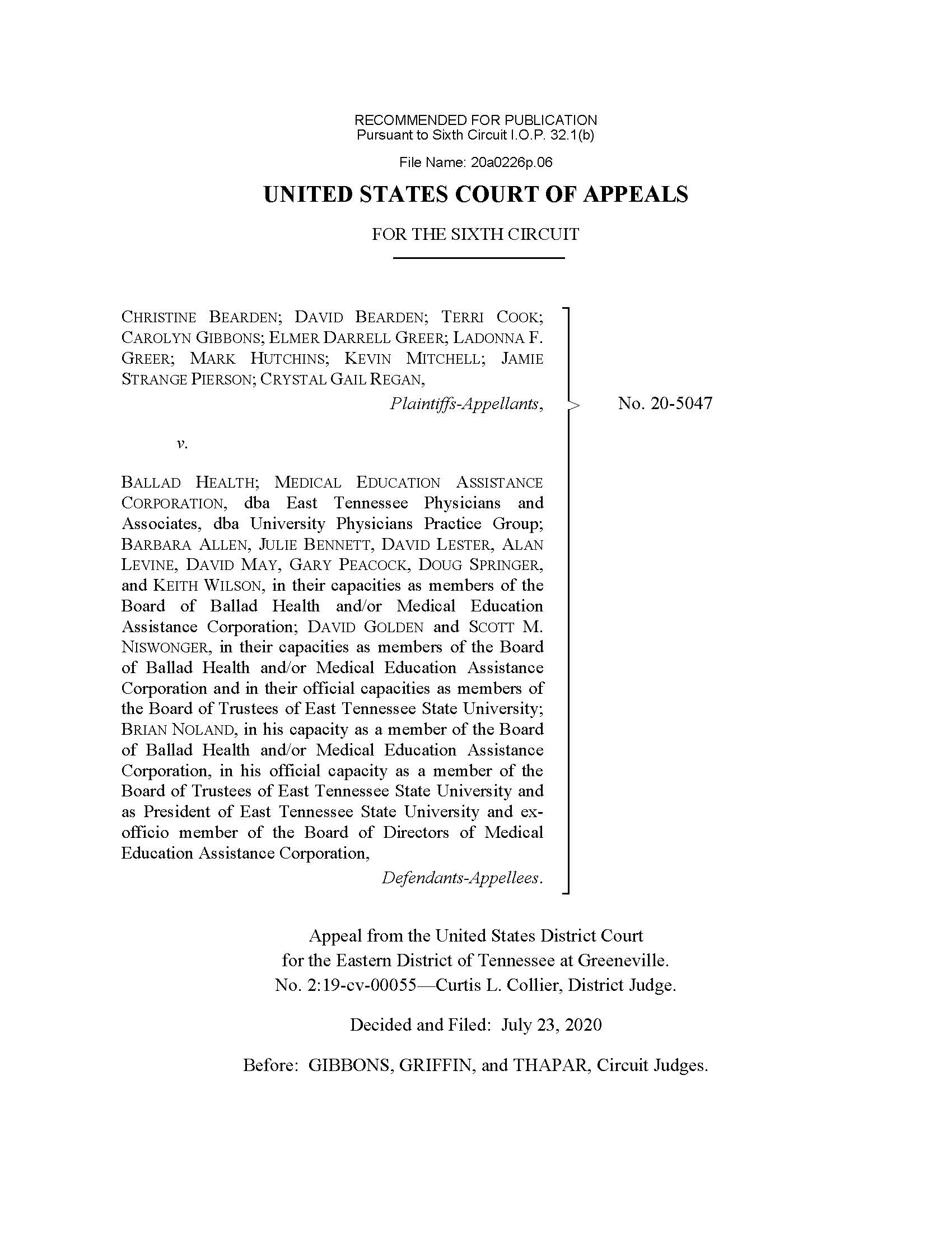 Page 1 of linked case (Bearden v. Ballad Health)