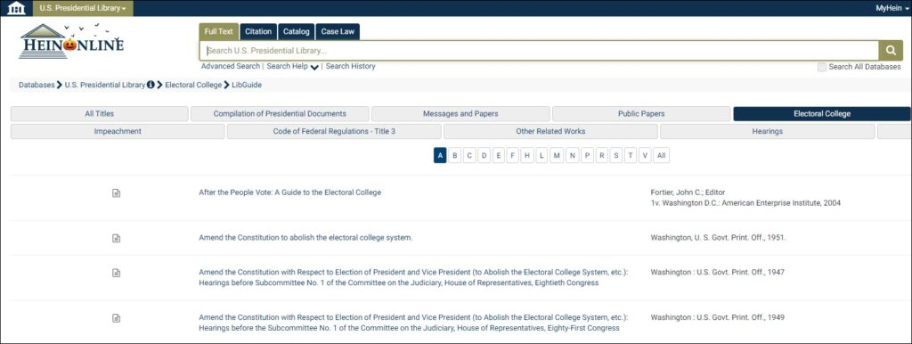 The opening menu of the Electoral College subcollection including the advanced search option.