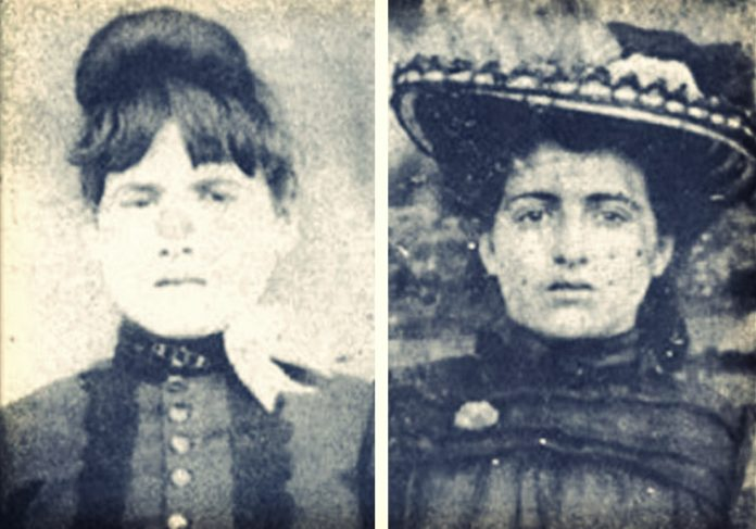 faded black-and-white photos of unsmiling 19th-century women