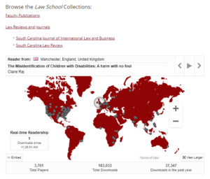 screenshot of https://scholarcommons.sc.edu/law/ with world map