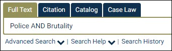 A sample search in the HeinOnline search bar