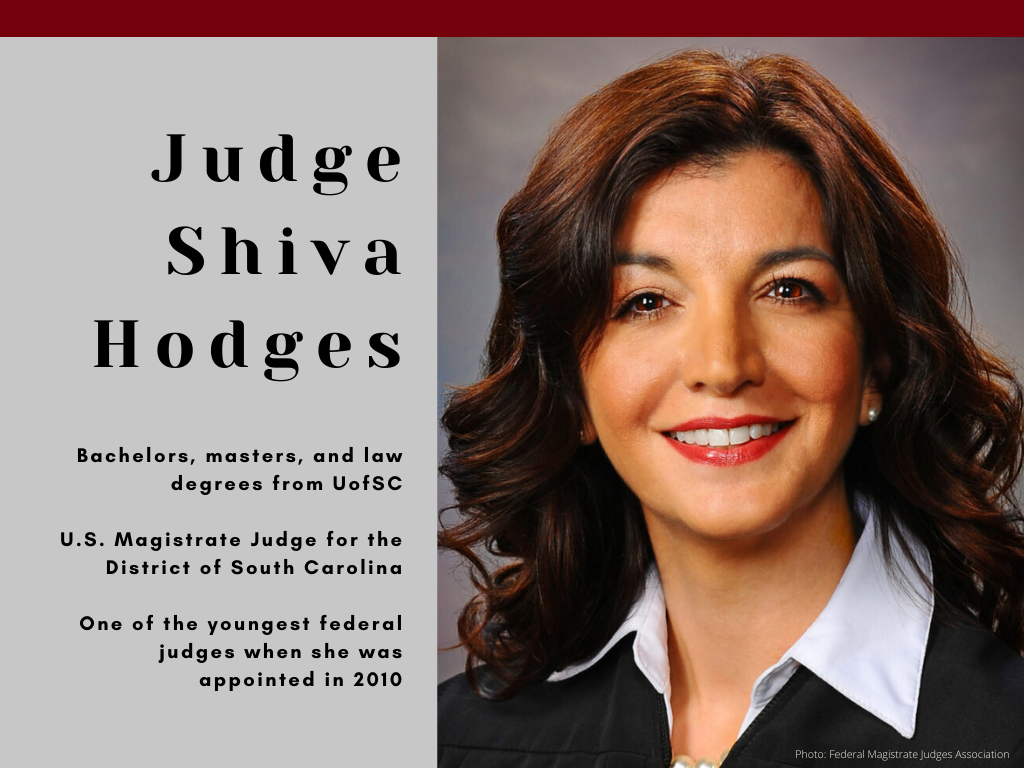 Judge Shiva Hodges - Bachelors, masters, and law degrees from UofSC - U.S. Magistrate Judge for the District of South Carolina - One of the youngest federal judges when she was appointed in 2010