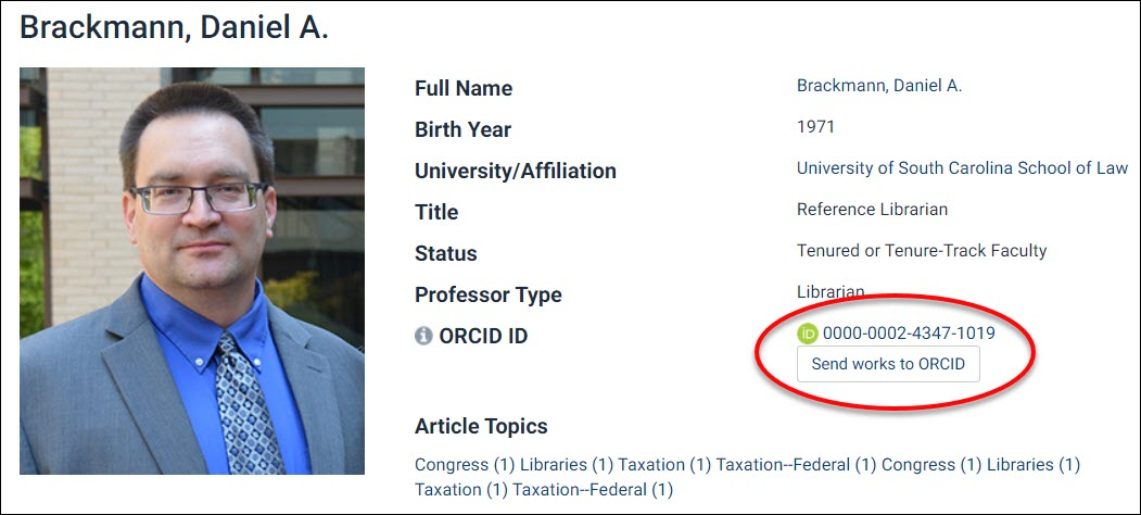 Dan Brackmann's Author Profile with the ORCID ID and upload optioncircled